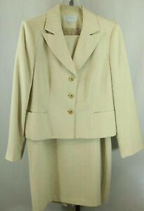 JH Collectibles Womens Ladies Beige 2 Piece Skirt Suit Size 16
