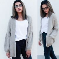 New ex ASOS Stone Oversized Chunky Cardigan with Pockets RRP £30 Sizes 4-16