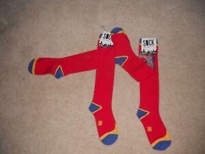 NIP Sock it To Me Novelty Knee High Socks Red Superhero Cosplay RAYGUN   2 Pair