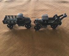 """Lot Of 2 Vintage Cast Iron Toy Truck Trucks 4.5"""" Long Unbranded"""