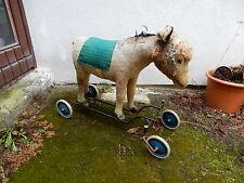 Steiff burro como reittier a 4 ruedas de ca 75cm grande