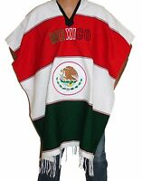 Warm Mexican Flag Mexican Poncho Gaban Heavy Blanket Cape Ruana One Size