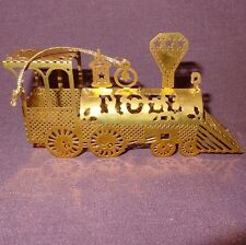 Vintage Train NOEL Gold Tone Brass Metal Christmas Ornament Locomotive 1983 4""