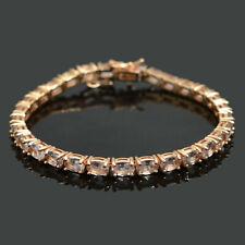 14K Rose Gold Plating Natural Morganite Gemstone 925 Silver Tennis Bracelet