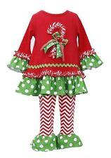 New Bonnie Jean Girls' Christmas Candy Cane Dress & Leggings Set Size 4 T