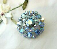 Vintage Blue AB Crystal Rhinestone Brooch