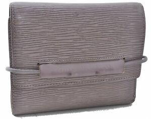 Auth Louis Vuitton Epi Portefeuille Elastic Trifold Wallet Gray M6346B LV D4746