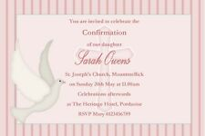 10 Personalised Confirmation Invitations Stripe Dove Design