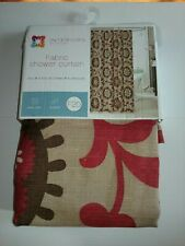 fabric shower curtain brown tan  burgundy scroll abstract india style polyester
