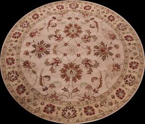 Round Traditional Floral Oriental Area Rug Hand-Tufted Wool Dining Room 10x10 ft
