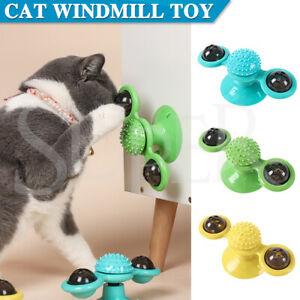 Cat Kitty Toy Windmill Turntable Interactive Toys Scratch Hair Tickle Brush