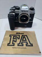 Nikon FA Silver Body 35mm SLR Film Camera With MD-15 Winder Attachment