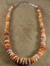 Big Beautiful Orange Santo Domingo Spiny Oyster w/ Imbedded Turquoise Necklace