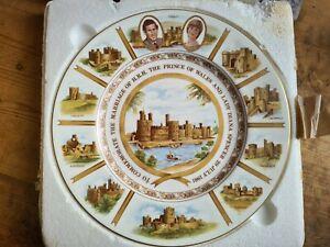 1981 Princess Diana Royal Marriage Coalport China Plate, Welsh Castles Lim Ed.