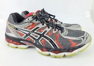 Asics Gel Nimbus 16 Mens Sz 9.5 4E Gray Black Red Running Shoes Laces T437N USED