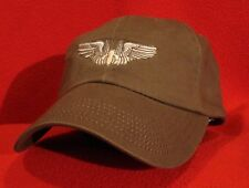 WWII Air Force AERIAL GUNNER WINGS Aviator BALL CAP, OD Green low-profile hat