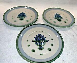 """(3) vintage M.A. Hadley Pottery Bouquet Salad  Dessert Plates 7-1/2"""""""