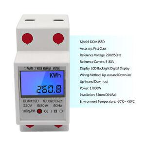 LCD Backlight Digitale Elettrico Contatore Energia KWh Monofase DIN-Rail 80A 220