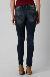 NEW ROCK REVIVAL ALIVIA MS213 MID RISE SKINNY STRETCH JEANS SIZE 26 BUCKLE