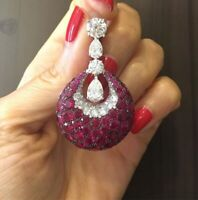Round Shape Queen Pink 13.62ct Rubies With Clear Pear & Round Shape CZ Earrings
