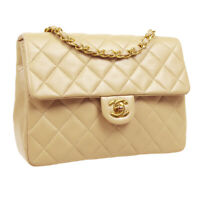 CHANEL Quilted CC Single Chain Shoulder Bag 1464571 Purse Beige Leather 33489