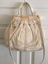 Authentic Miu Miu Cream Leather Large Frame Handbag/Crossbody Satchel