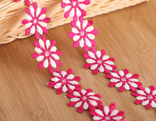 1 yards Flower Embroidered Lace Trim Ribbon Sewing Craft For Costumes Decoration