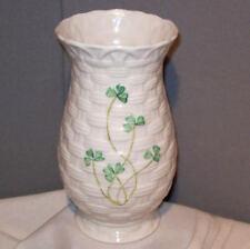 """Belleek KYLEMORE Basketweave Clover Shamrocks Pattern 7"""" Porcelain China Vase"""
