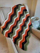 "Handmade lap blanket chevrons throw crochet afghan 31"" x 29"""