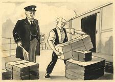 John Hubbard, Station, East Anglian Magazine – Original 1951 pen & ink drawing