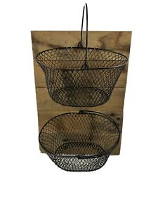 Wire Fruit/ Flower Basket Wall Hanging Farmhouse Handmade-rubbed Oil Finish