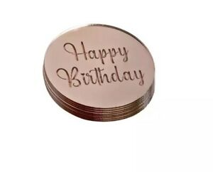 Happy Birthday Acrylic Cake Toppers Discs Party Food Baking Decorations