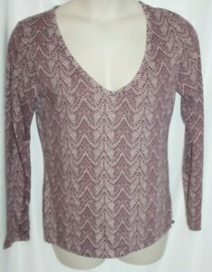 Victoria Secret Women's Top Purple V-Neck Long Sleeve Geometric Print Size Large