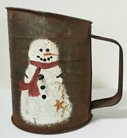 Rusty Old Vintage Bromwell's Flour Sifter w/ Snowman 3 cup measuring Works USA