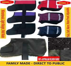 OilSkin & Luxury Dog Coat Jacket jumper Sherp/wool Waterproof  Winter all sizes