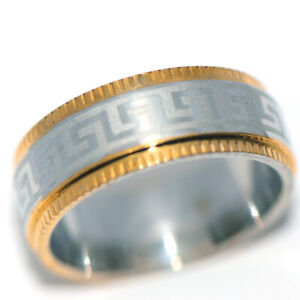 Cool Mens Womens Band Ring Stainless Steel Rings 2-Tone Man Jewelry Size 10