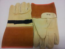 Size 10 1/2 ELECTRICAL GLOVE PROTECTOR LEATHER GLOVE w/ Strap per Pair