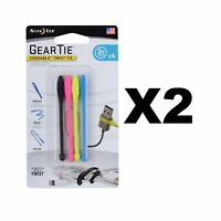 """Nite Ize Gear Tie Cordable Twist Tie 3"""" Assorted Cord Organizers (2-Pack of 4)"""
