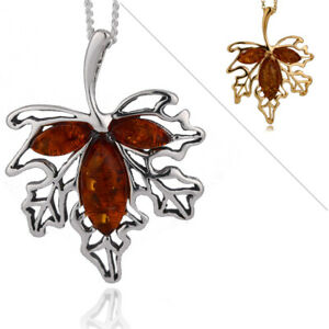 Silver Chain Pendant 925 Amber Brown Sterling Natural Pear  Maple Leaf  18'' Gif