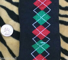 Funky Red Green BLACK GLITTER ARGYLE KNEE SOCKS Lolita Winter Holiday Christmas