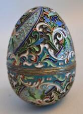 19th Century Fine Russian Moscow Silver Gilt and Enamel Egg Nicolai Zverev