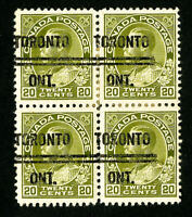 Canada Stamps # 119 XF Toronto Pre-Cancel Block 4