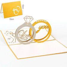 3D Pop Up Greeting Card Ring Wedding Valentines Anniversary Invitations Postcard