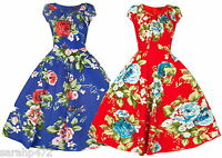 SARAH-P PRETTY FLORAL RETRO SWING VINTAGE 50'S DRESS SIZE 8-18 2 COLOURS NEW