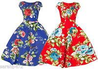 SARAH-P PRETTY FLORAL RETRO SWING VINTAGE 50'S DRESS SIZE 8-18 2 COLOURS NEW