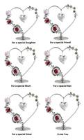 Crystal Heart Ornament Figurine Gift Special Mum Nan Friend Daughter Sister Love