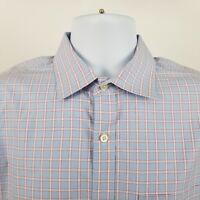 Banana Republic Non Iron Classic Fit Blue Red Check L/S Button Shirt Sz M-Tall