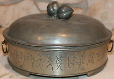 Old Antique Chinese Engraved Pewter Covered Dishes with Jade & Gemstones