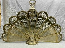 "New ListingVintage Art Deco Cameo ""Peacock"" Victorian Brass Fan Fireplace Folding Screen"