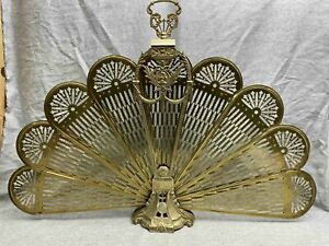 "Vintage Art Deco Cameo ""Peacock"" Victorian Brass Fan Fireplace Folding Screen"